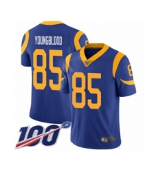 Men's Los Angeles Rams #85 Jack Youngblood Royal Blue Alternate Vapor Untouchable Limited Player 100th Season Football Jersey