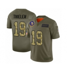 Men's Minnesota Vikings #19 Adam Thielen 2019 Olive Camo Salute to Service Limited Jersey