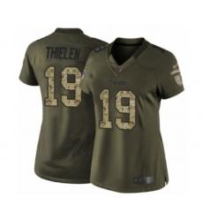 Women's Minnesota Vikings #19 Adam Thielen Limited Green Salute to Service Football Jersey