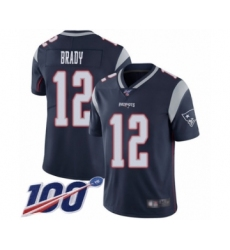 Men's New England Patriots #12 Tom Brady Navy Blue Team Color Vapor Untouchable Limited Player 100th Season Football Jersey