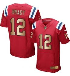 Men's Nike New England Patriots #12 Tom Brady Elite Red/Gold Alternate NFL Jersey
