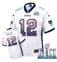 Men's Nike New England Patriots #12 Tom Brady Elite White Drift Fashion Super Bowl LII NFL Jersey