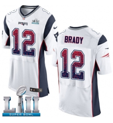Men's Nike New England Patriots #12 Tom Brady Elite White Road Drift Fashion Super Bowl LII NFL Jersey