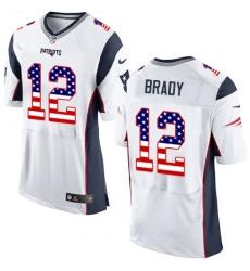 Men's Nike New England Patriots #12 Tom Brady Elite White Road USA Flag Fashion NFL Jersey
