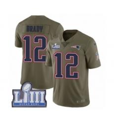 Men's Nike New England Patriots #12 Tom Brady Limited Olive 2017 Salute to Service Super Bowl LIII Bound NFL Jersey