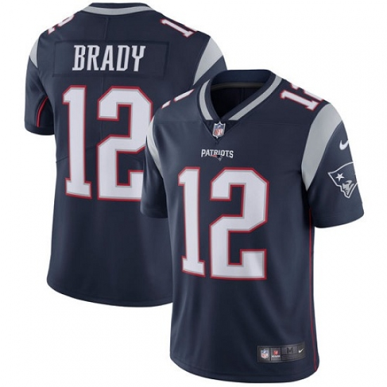 Men's Nike New England Patriots #12 Tom Brady Navy Blue Team Color Vapor Untouchable Limited Player NFL Jersey