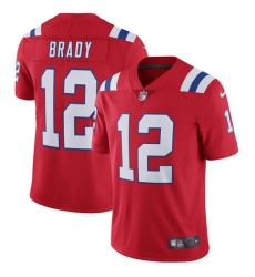 Men's Nike New England Patriots #12 Tom Brady Red Alternate Vapor Untouchable Limited Player NFL Jersey