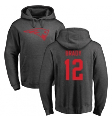 NFL Nike New England Patriots #12 Tom Brady Ash One Color Pullover Hoodie