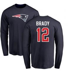 NFL Nike New England Patriots #12 Tom Brady Navy Blue Name & Number Logo Long Sleeve T-Shirt