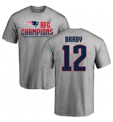Nike New England Patriots #12 Tom Brady Heather Gray 2017 AFC Champions V-Neck T-Shirt