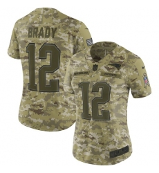 Women's Nike New England Patriots #12 Tom Brady Limited Camo 2018 Salute to Service NFL Jersey
