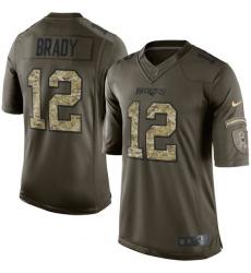 Youth Nike New England Patriots #12 Tom Brady Elite Green Salute to Service NFL Jersey