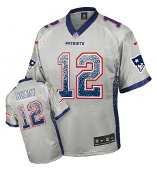 Youth Nike New England Patriots #12 Tom Brady Elite Grey Drift Fashion NFL Jersey