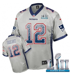 Youth Nike New England Patriots #12 Tom Brady Elite Grey Drift Fashion Super Bowl LII NFL Jersey