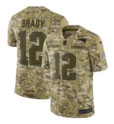 Youth Nike New England Patriots #12 Tom Brady Limited Camo 2018 Salute to Service NFL Jersey