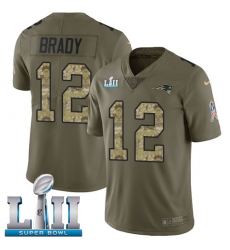 Youth Nike New England Patriots #12 Tom Brady Limited Olive/Camo 2017 Salute to Service Super Bowl LII NFL Jersey