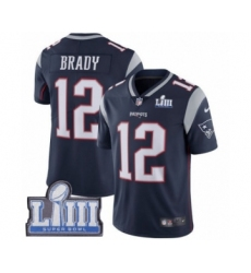 Youth Nike New England Patriots #12 Tom Brady Navy Blue Team Color Vapor Untouchable Limited Player Super Bowl LIII Bound NFL Jersey