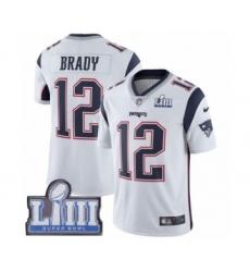 Youth Nike New England Patriots #12 Tom Brady White Vapor Untouchable Limited Player Super Bowl LIII Bound NFL Jersey