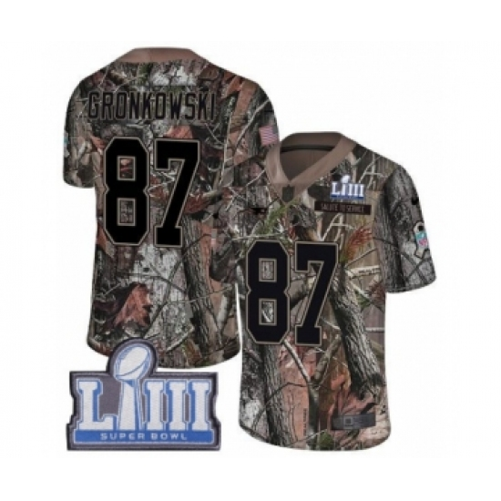 Men s Nike New England Patriots  87 Rob Gronkowski Camo Rush Realtree  Limited Super Bowl LIII 16ef72ff6