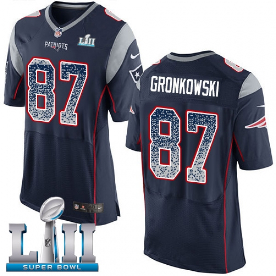 a070f5388 ... Bowl LII NFL Jersey. Product details. Men s Nike New England Patriots  87  Rob Gronkowski Elite Navy Blue Home Drift Fashion Super