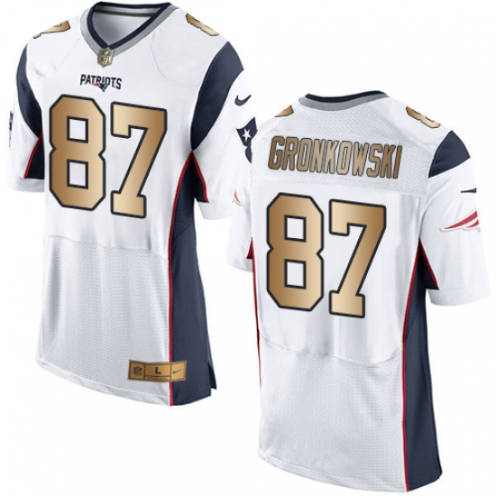 Wholesale Men's Nike New England Patriots #87 Rob Gronkowski Elite WhiteGold  for sale