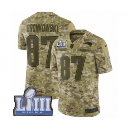 2f29c034a ... Bowl LIII Bound NFL Jersey. Product details. Men s Nike New England  Patriots  87 Rob Gronkowski Limited Camo 2018 Salute to Service Super