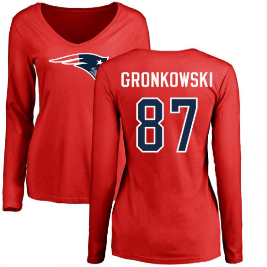 NFL Women s Nike New England Patriots  87 Rob Gronkowski Red Name   Number  Logo Slim 9dfa0ade9