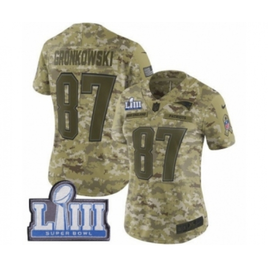 low priced cf0e8 1a78a Women's Nike New England Patriots #87 Rob Gronkowski Limited ...