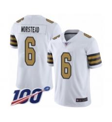 Men's New Orleans Saints #6 Thomas Morstead Limited White Rush Vapor Untouchable 100th Season Football Jersey