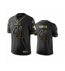 Men's New Orleans Saints #41 Alvin Kamara Limited Black Golden Edition Football Jersey