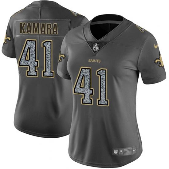 Women's Nike New Orleans Saints #41 Alvin Kamara Gray Static Vapor  supplier