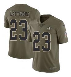 Men s Nike New Orleans Saints  23 Marshon Lattimore Limited Olive 2017  Salute to Service NFL 9b85f707c