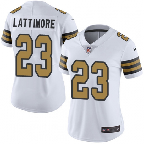 12cc4a424 Women s Nike New Orleans Saints  23 Marshon Lattimore Limited White Rush  Vapor Untouchable NFL Jersey