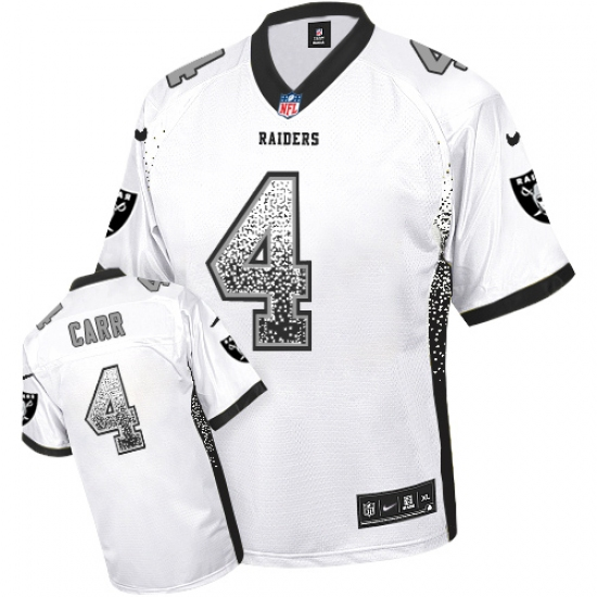 Hot Men's Nike Oakland Raiders #4 Derek Carr Elite White Drift Fashion  hot sale
