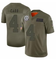 Women's Oakland Raiders #4 Derek Carr Limited Camo 2019 Salute to Service Football Jersey