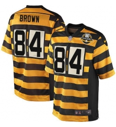Men's Nike Pittsburgh Steelers #84 Antonio Brown Elite Yellow/Black Alternate 80TH Anniversary Throwback NFL Jersey