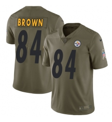 Men's Nike Pittsburgh Steelers #84 Antonio Brown Limited Olive 2017 Salute to Service NFL Jersey