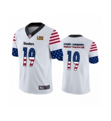 Men's Pittsburgh Steelers #19 JuJu Smith-Schuster White Independence Day Limited Player Football Jersey