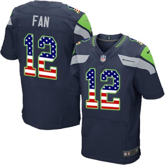 Men s Nike Seattle Seahawks 12th Fan Elite Navy Blue Home USA Flag Fashion NFL  Jersey 084ed24a2