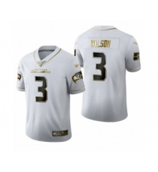 Men's Seattle Seahawks #3 Russell Wilson Limited White Golden Edition Football Jersey