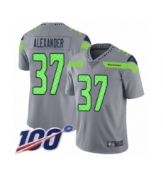 Men's Seattle Seahawks #37 Shaun Alexander Limited Silver Inverted Legend 100th Season Football Jersey