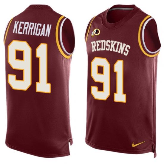 Men s Nike Washington Redskins  91 Ryan Kerrigan Limited Red Player Name    Number Tank Top f768c2eae