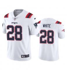 Nike New England Patriots #28 James White Men's White 2020 Vapor Limited Jersey