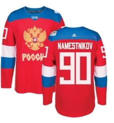 Men's Adidas Team Russia #90 Vladislav Namestnikov Premier Red Away 2016 World Cup of Hockey Jersey