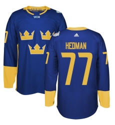 Men's Adidas Team Sweden #77 Victor Hedman Premier Royal Blue Away 2016 World Cup of Hockey Jersey