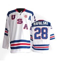 Men's Nike Team USA #28 Brian Rafalski Authentic White 1960 Throwback Olympic Hockey Jersey