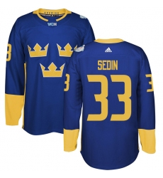 Men's Adidas Team Sweden #33 Henrik Sedin Premier Royal Blue Away 2016 World Cup of Hockey Jersey