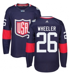 Men's Adidas Team USA #26 Blake Wheeler Authentic Navy Blue Away 2016 World Cup Ice Hockey Jersey