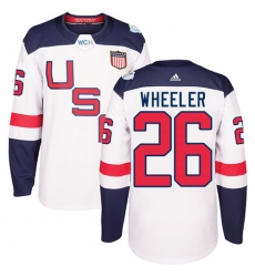 Men's Adidas Team USA #26 Blake Wheeler Premier White Home 2016 World Cup Ice Hockey Jersey