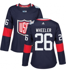 Women's Adidas Team USA #26 Blake Wheeler Authentic Navy Blue Away 2016 World Cup Hockey Jersey
